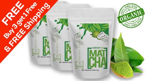 FREE Shipping 3 Pack Soursop Matcha Tea Powder + 1 FREE Pack (8 Oz - 140 Servings)
