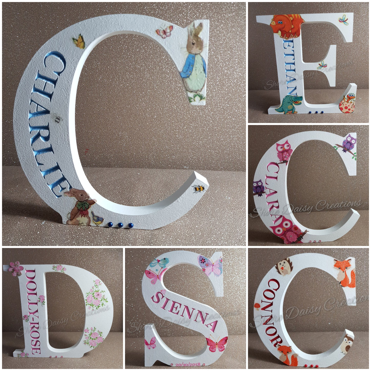 Freestanding Engraved Letters (Decorated)