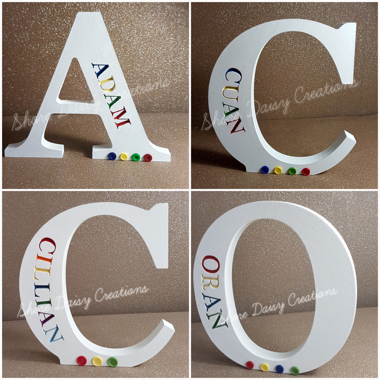 Freestanding Engraved letters  (Rainbow)