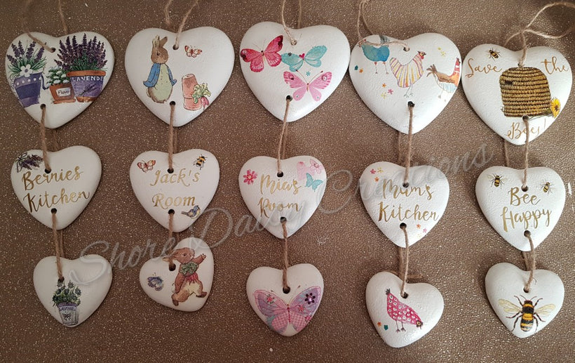 Personalised Hanging Ceramic Hearts.