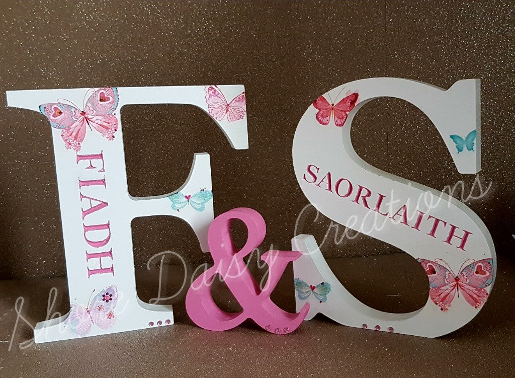 Personalised Freestanding Engraved Letters, Patterned Design (Set of 2)