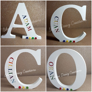 Personalised Freestanding Engraved Letter (Rainbow)