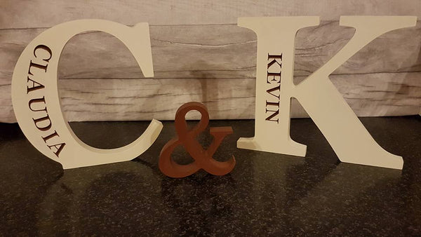 Personalised Freestanding Engraved Letters (Set of 2)