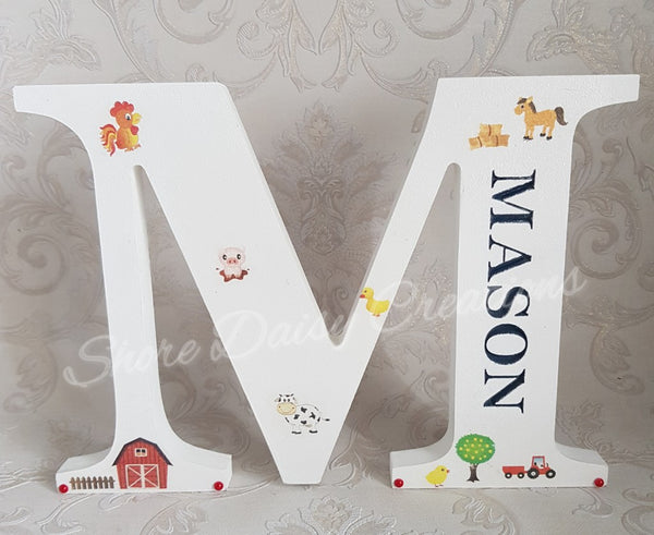 wooden name letter farmyard