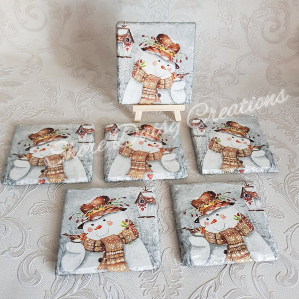 Snowman and Robin Slate Coasters set of 6