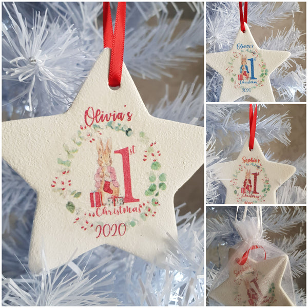 Personalised Baby's First Christmas Tree Ornament (ceramic)
