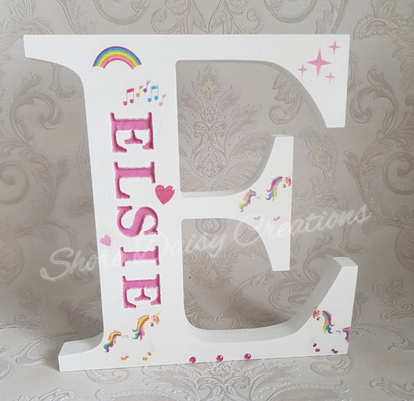 unicorn theme wooden name letter