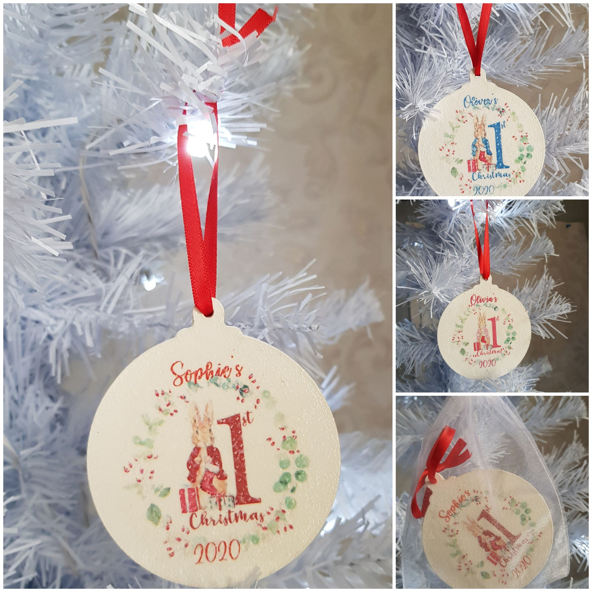 Personalised Baby's First Christmas Tree Ornament (wooden)
