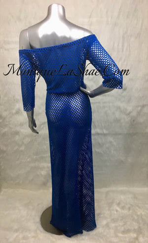 Blue Fishnet Coverup
