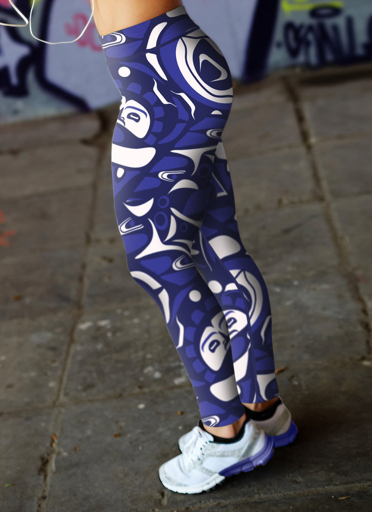 Blue and White Native Pattern Leggings
