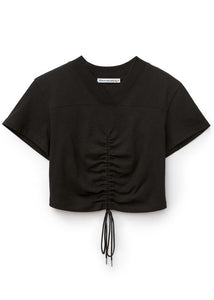 high twist ruched cropped tee