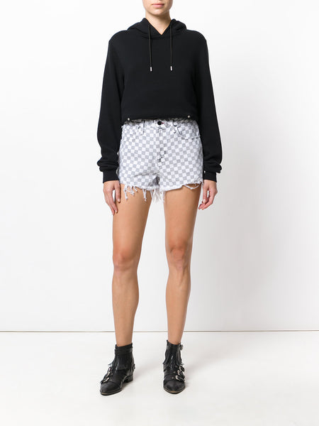 Checkered Denim Shorts