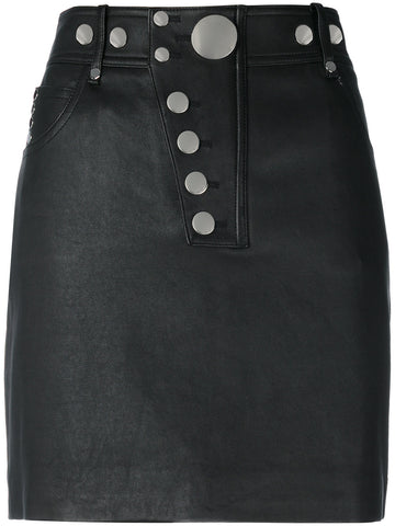 Hi-Waisted Leather Mini Skirt