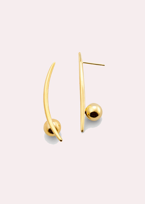 14K Crescent Sphere Earrings