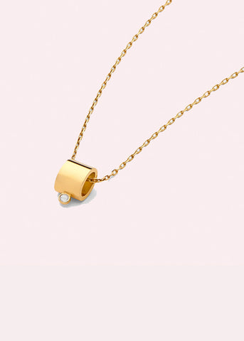 14K Tube Pendant Necklace