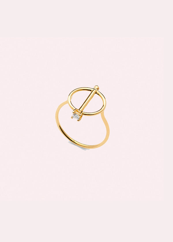 14K Pin Disc Ring w/ Diamond