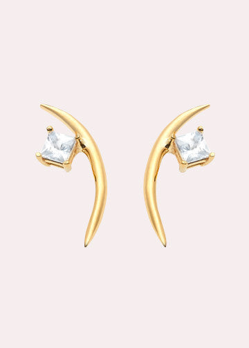 14K Diamond Thin Moon Earrings