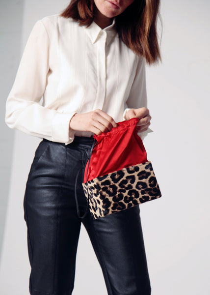 Box Bag - Cheetah w/ Red Silk