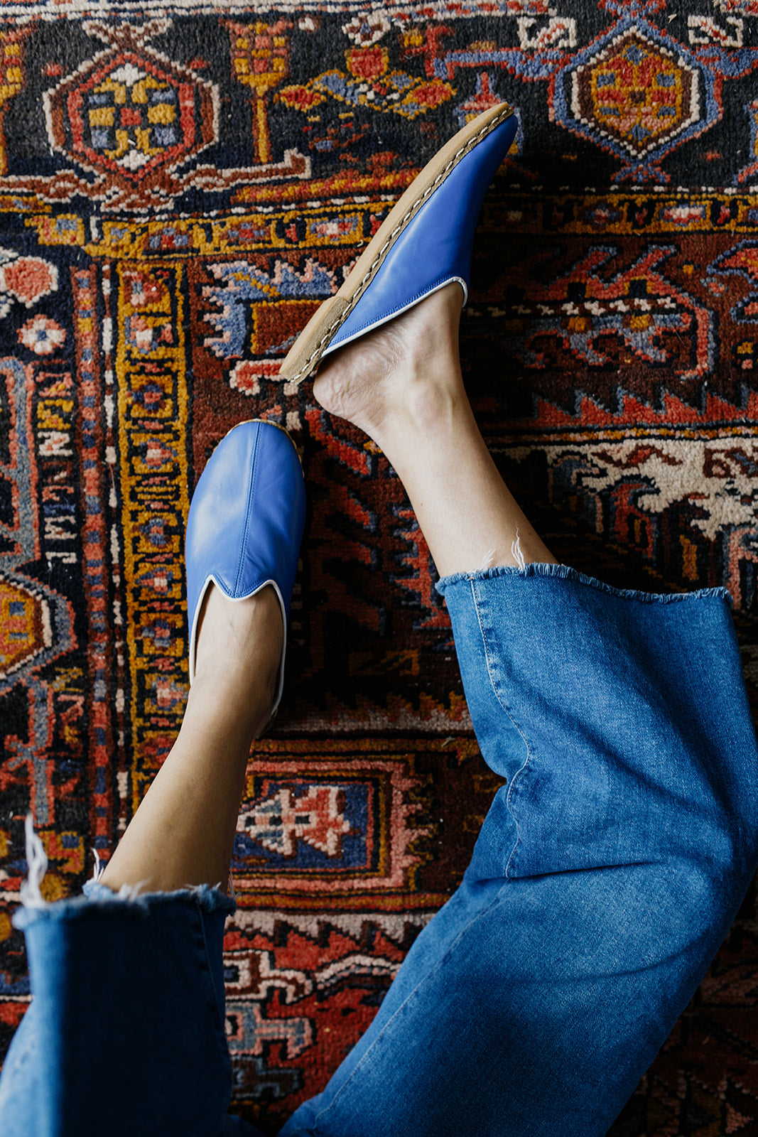 Leather Mules in Blue