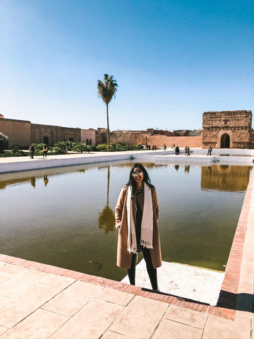 Ra'eesa in her KISA Classic Coat while in Morocco