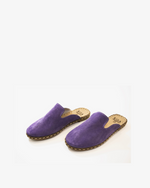 Handmade Leather Shoes / Purple Suede Slides