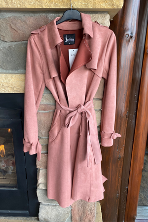 Ultra-suede Trench Coat in Dusty Rose