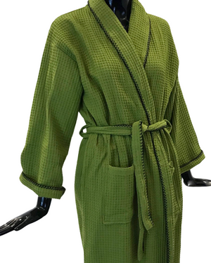 Load image into Gallery viewer, Waffle Weave Bathrobe in Olive Green