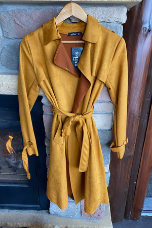 Ultra-suede Trench Coat in Mustard