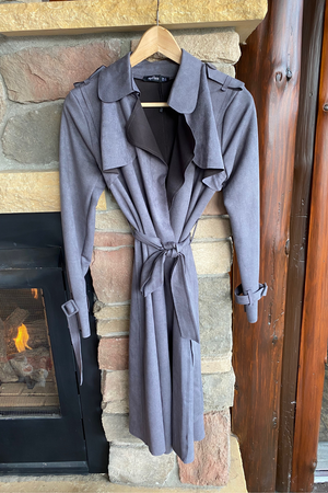 Ultra-suede Trench Coat in Grey
