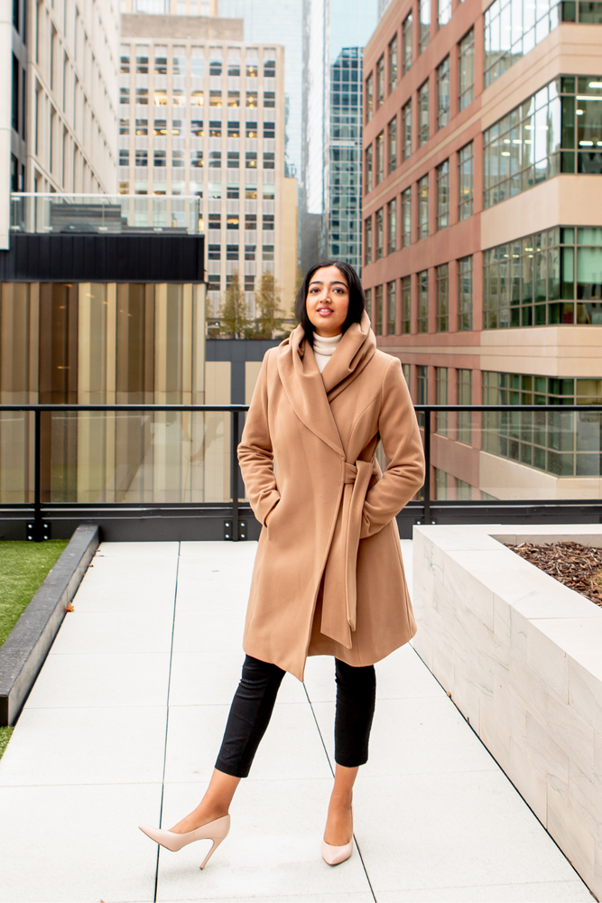 Woman wearing the Neutral Classic Wrap Coat in Camel