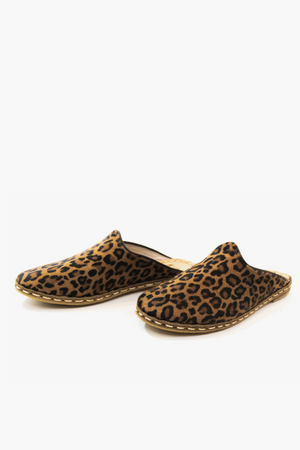 Leopard Suede Mules with Black Trim