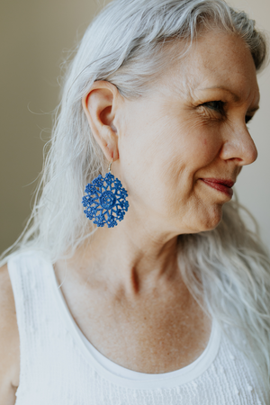 Load image into Gallery viewer, Woman wearing the KISA Crochet Earrings in Blueberry