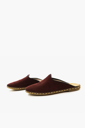 Burgundy Suede Mules with Black Trim