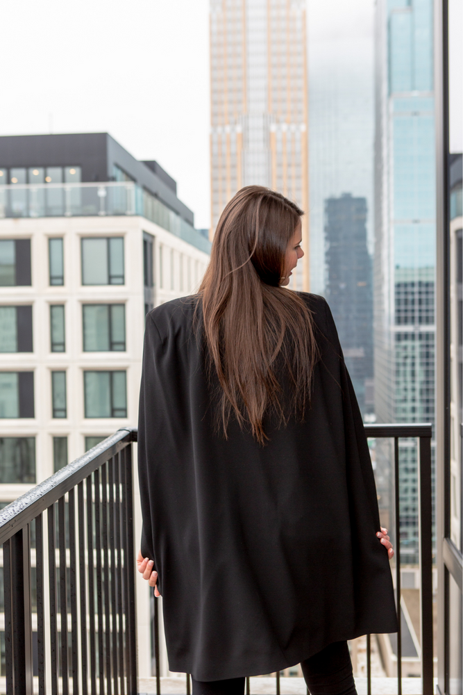 Long Cape Blazer in Black