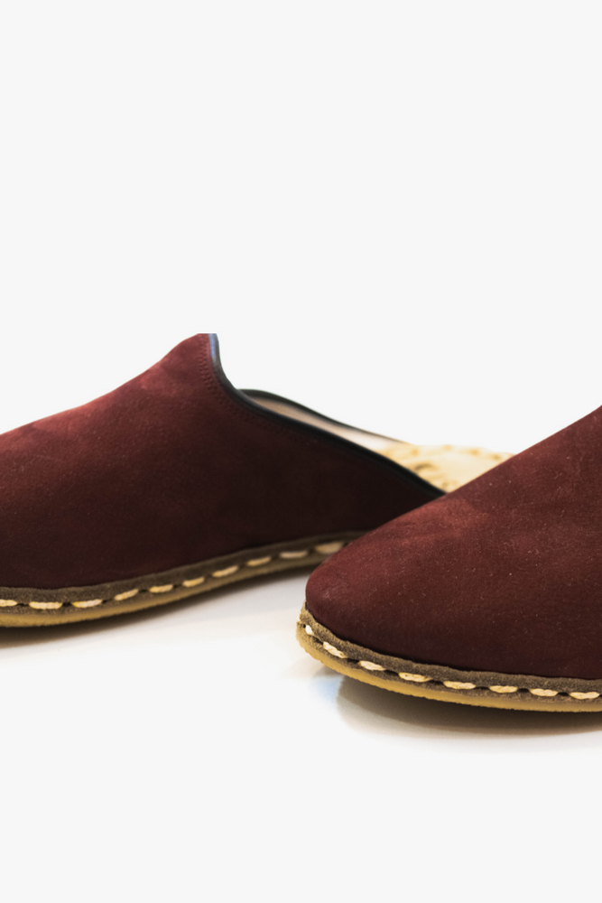 Load image into Gallery viewer, Burgundy Suede Mules with Black Trim