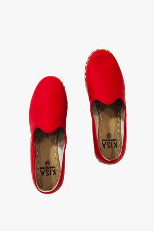 Bold Leather Slip On Shoes in Red