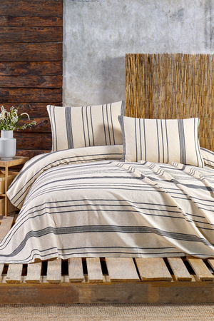 Load image into Gallery viewer, Stripe Duvet Set in Navy for a Queen size bed