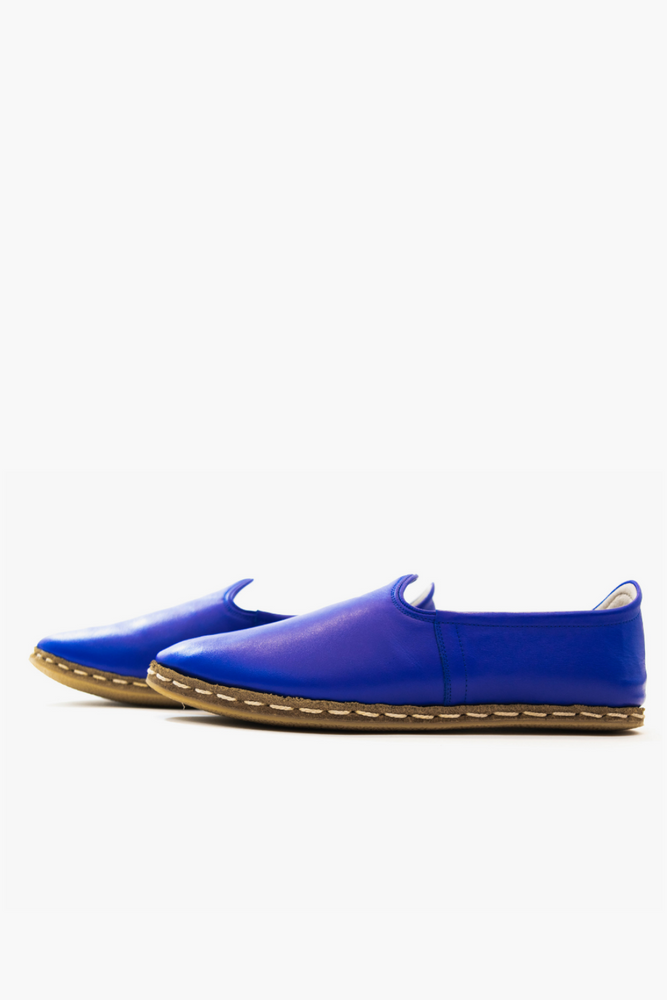 Bold Leather Slip On Shoes in Blue