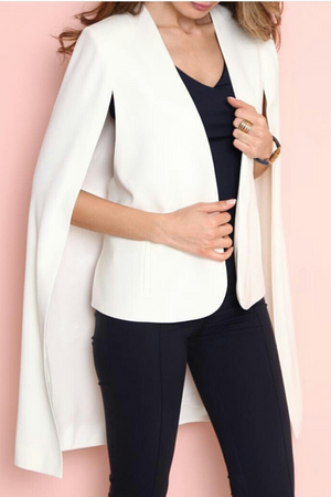 Long Cape Blazer in White