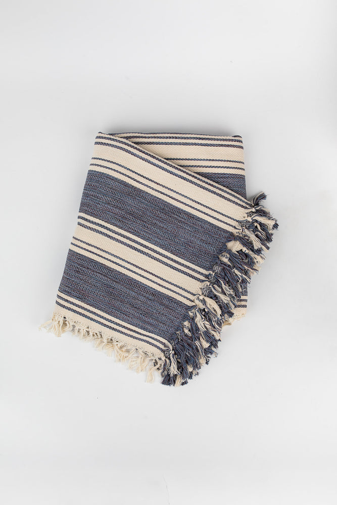 Load image into Gallery viewer, Ribbon Stripe Blanket in Denim