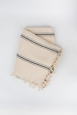 Ribbon Stripe Blanket in Pearl