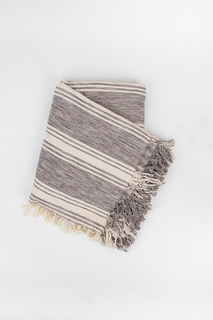 Ribbon Stripe Blanket in Pewter