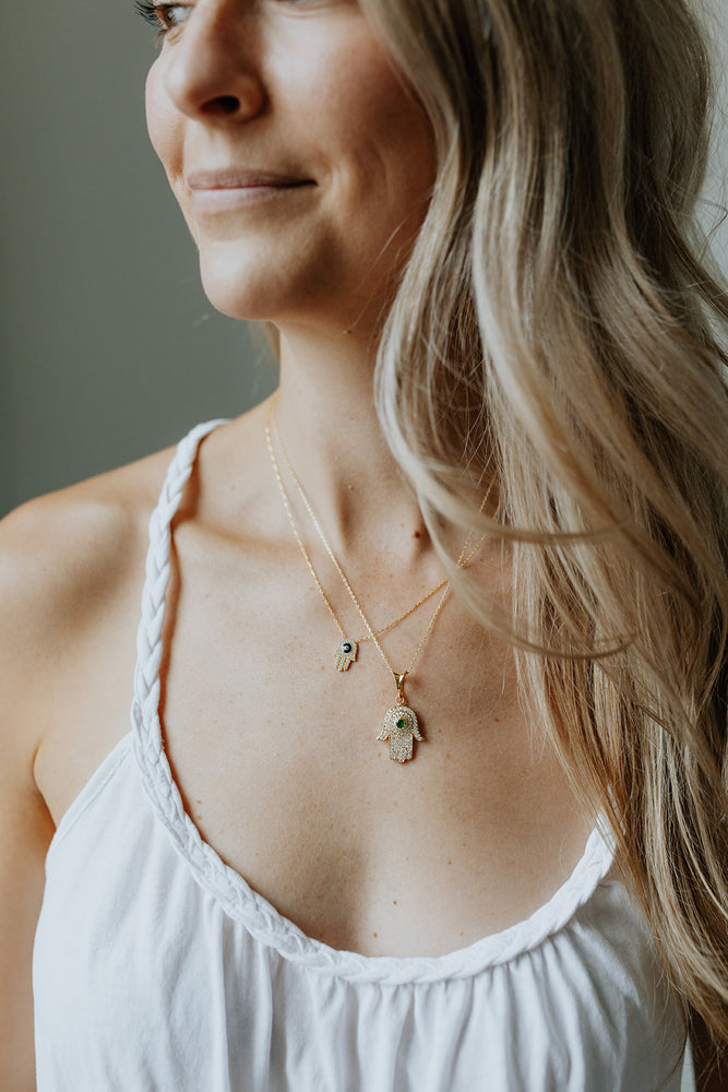 Hamsa + Evil Eye Necklace paired with the Hamsa Gem Pendant Necklace