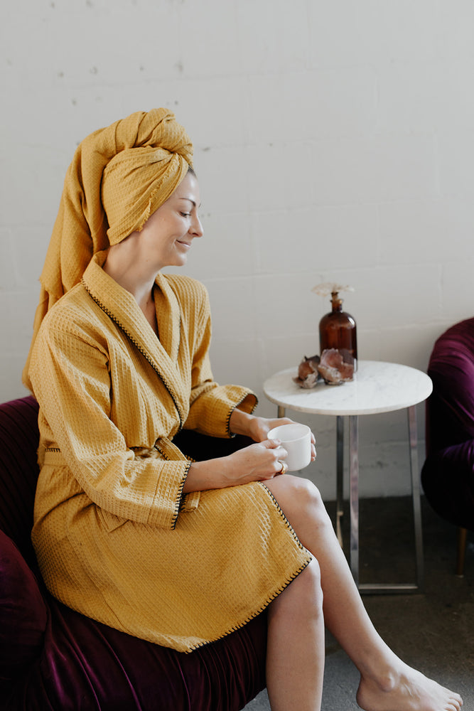 Waffle Weave Turkish Towel and Bathrobe in Mustard