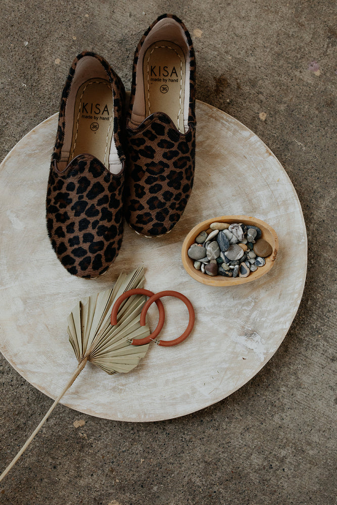 Ellen House Jewelry The Hangout Hoops and KISA Leopard Slip Ons