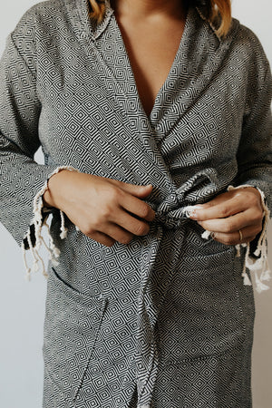 Diamond Bathrobe in Charcoal with front tie