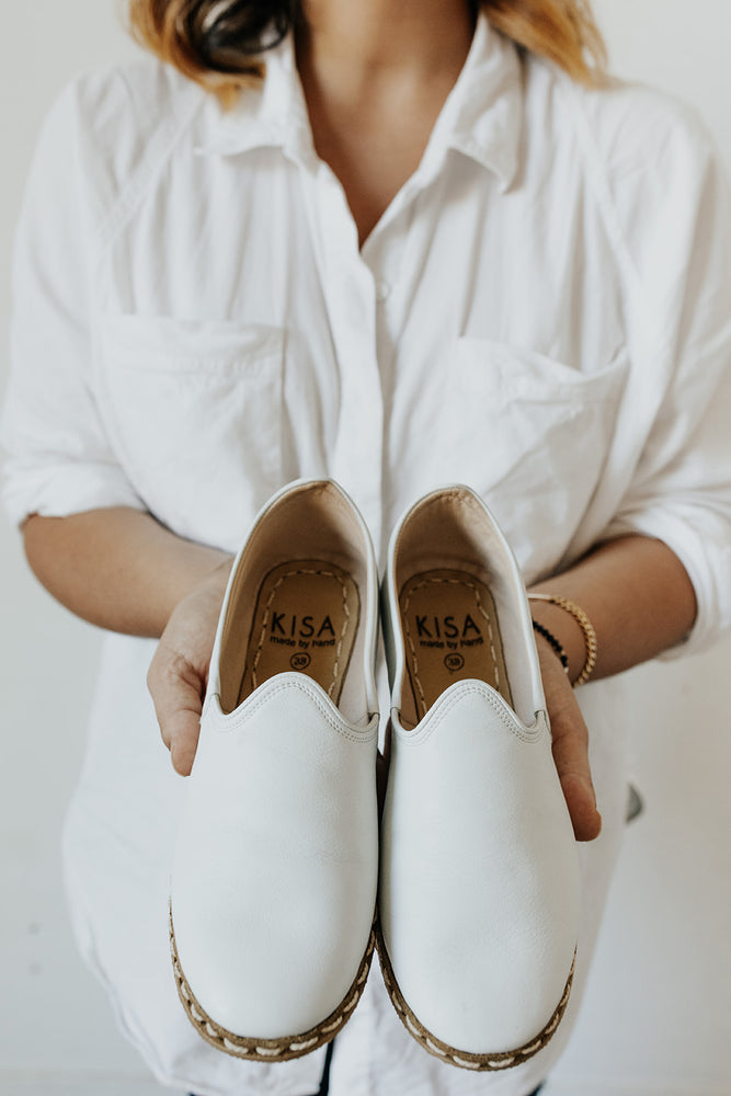 Neutral Leather Slip On Shoes in White
