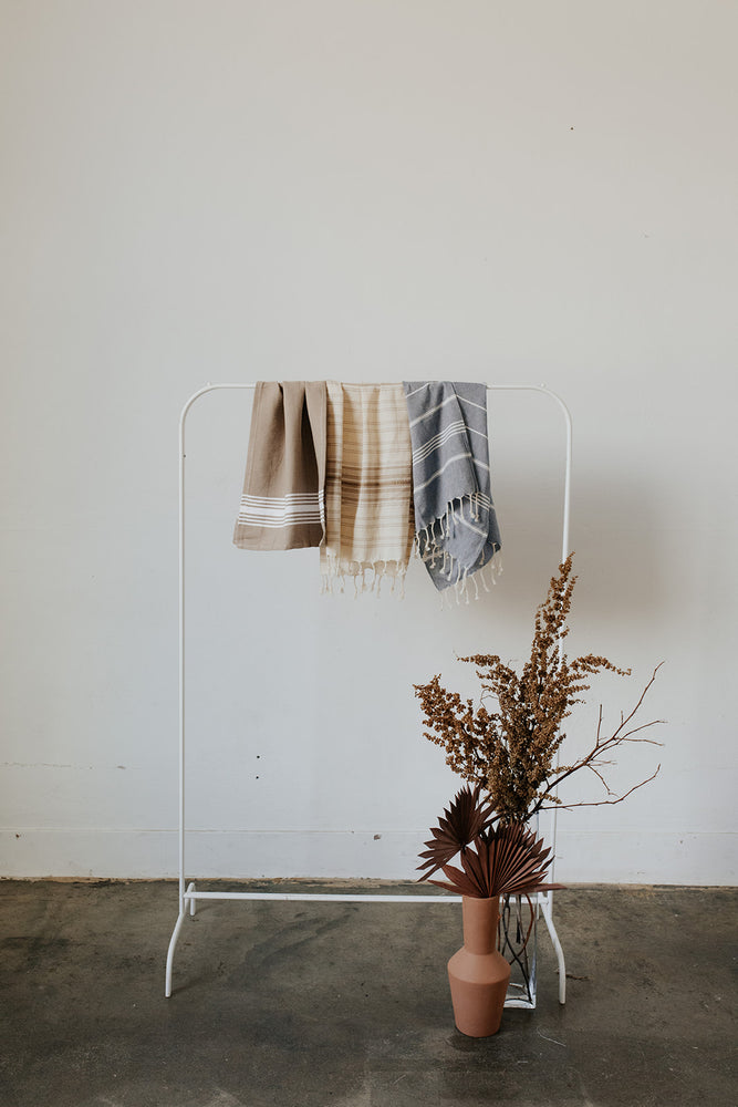 Neutral Set of Hand Towels Including the White Stripe Towel in Walnut