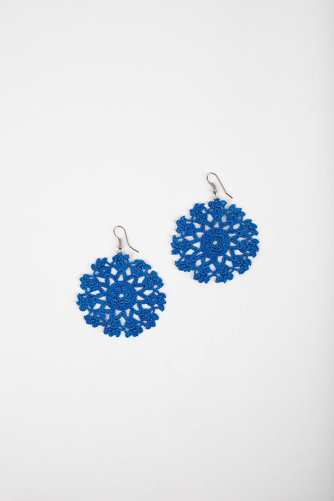 Crochet Earrings in Blueberry