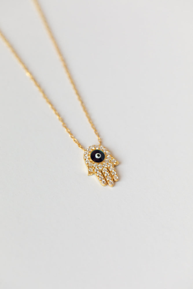 Hamsa + Evil Eye Gold Necklace